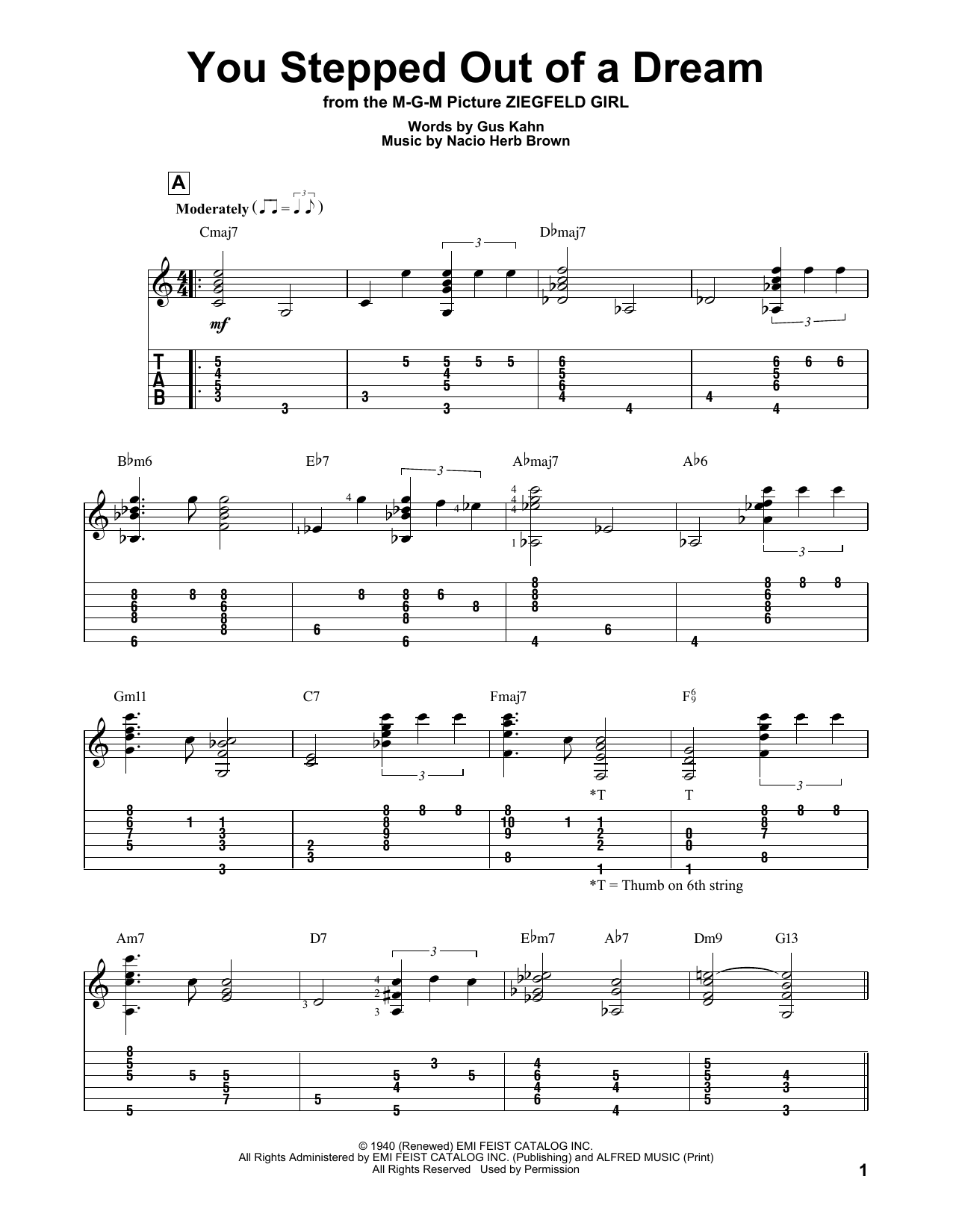 You Stepped Out Of A Dream (Guitar Tab)