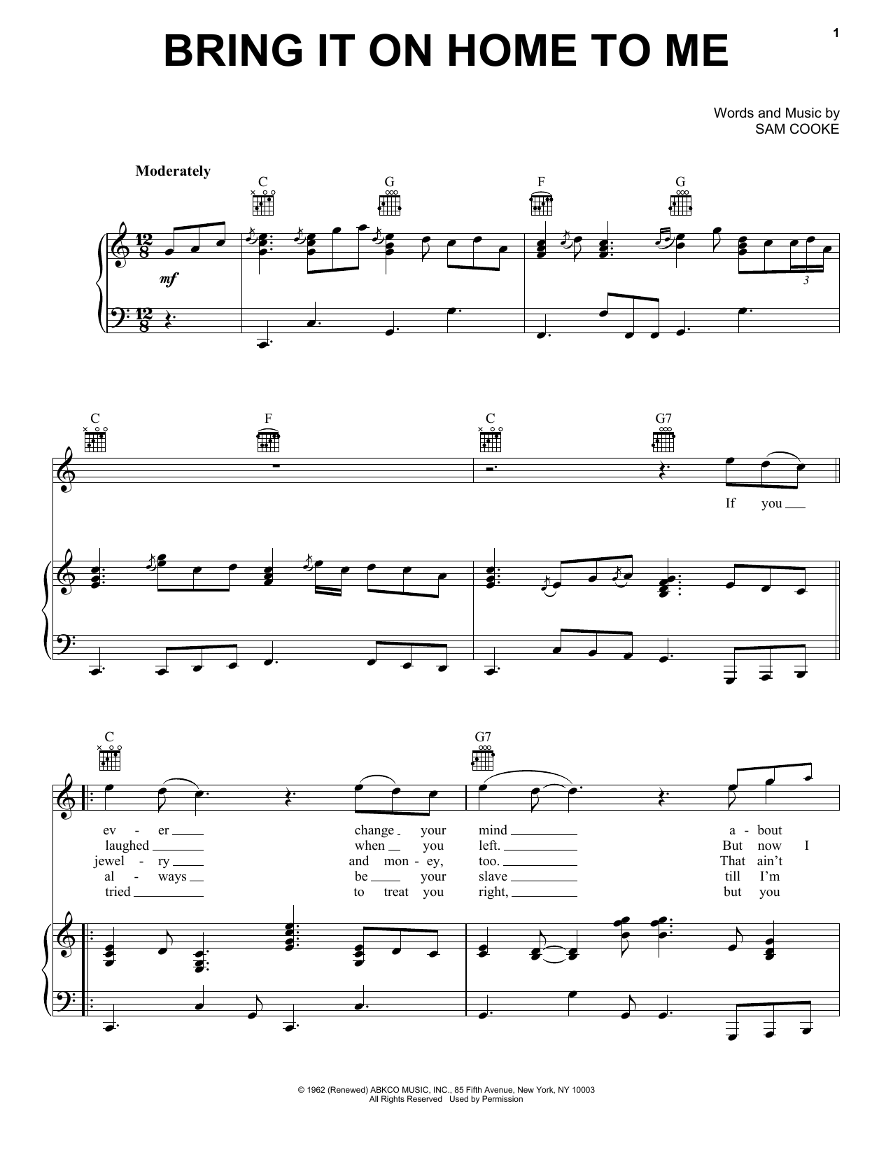 sam cooke bring it on home to me sheet music. Black Bedroom Furniture Sets. Home Design Ideas