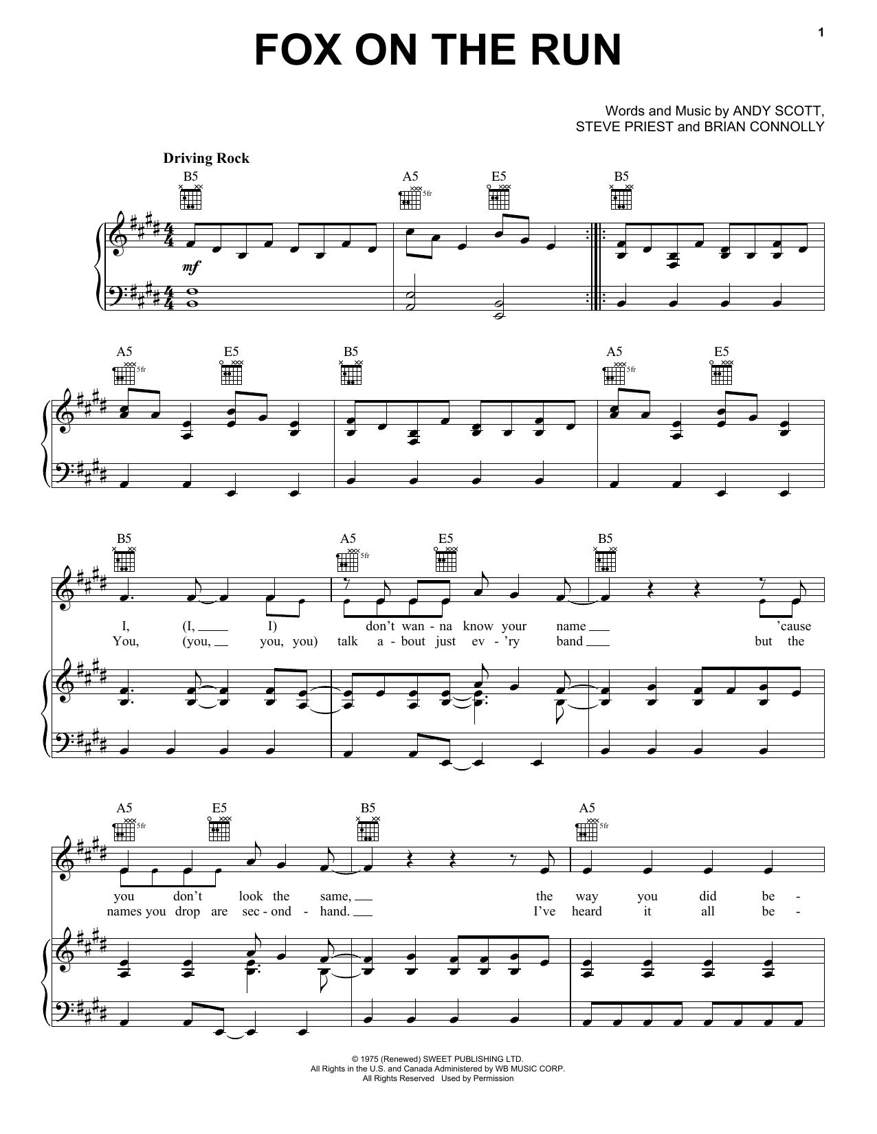 Fox On The Run (Piano, Vocal & Guitar (Right-Hand Melody))