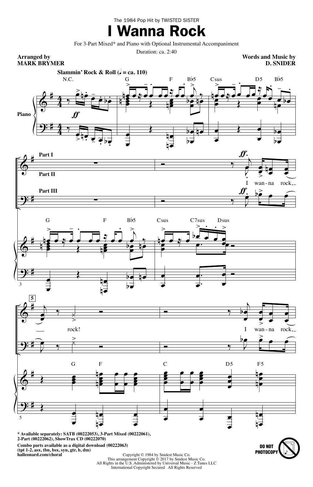 I Wanna Rock (3-Part Mixed Choir)