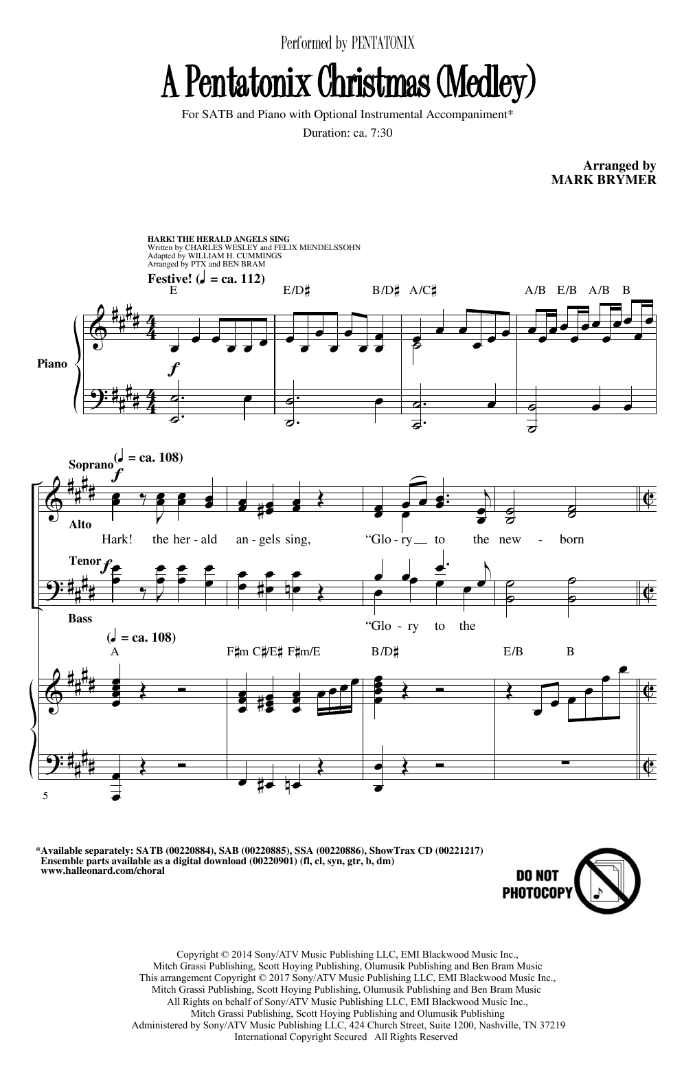 A Pentatonix Christmas (Medley) (arr. Mark Brymer) (SATB Choir)