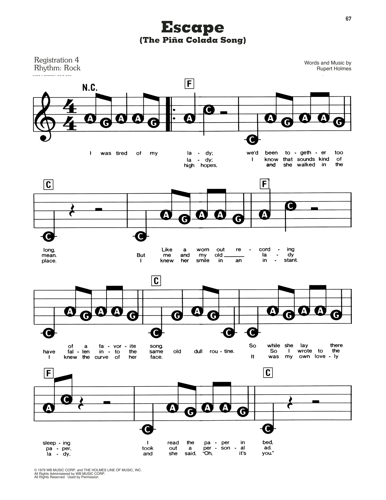 Escape (The Pina Colada Song) Partituras   Rupert Holmes   E-Z Play Today