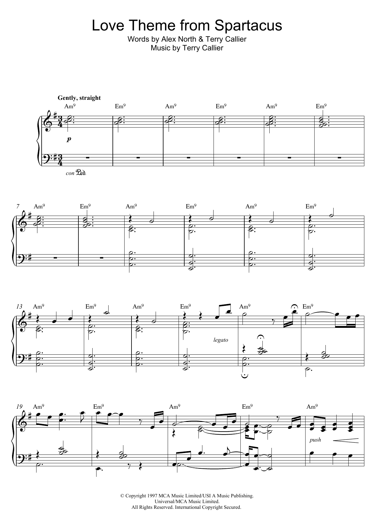 Love Theme From Spartacus Sheet Music