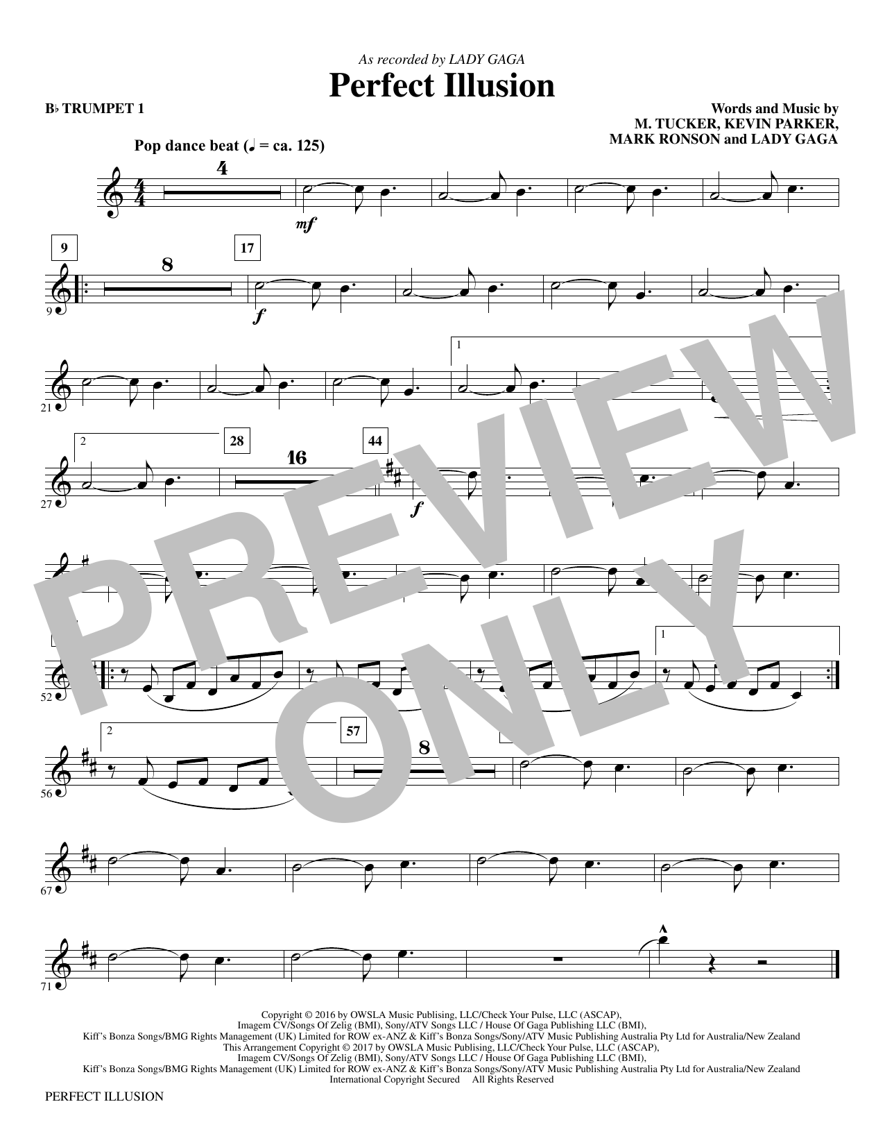 Perfect Illusion (complete set of parts) sheet music for orchestra/band by Michael Tucker, Lady Gaga, Mac Huff and Mark Ronson. Score Image Preview.