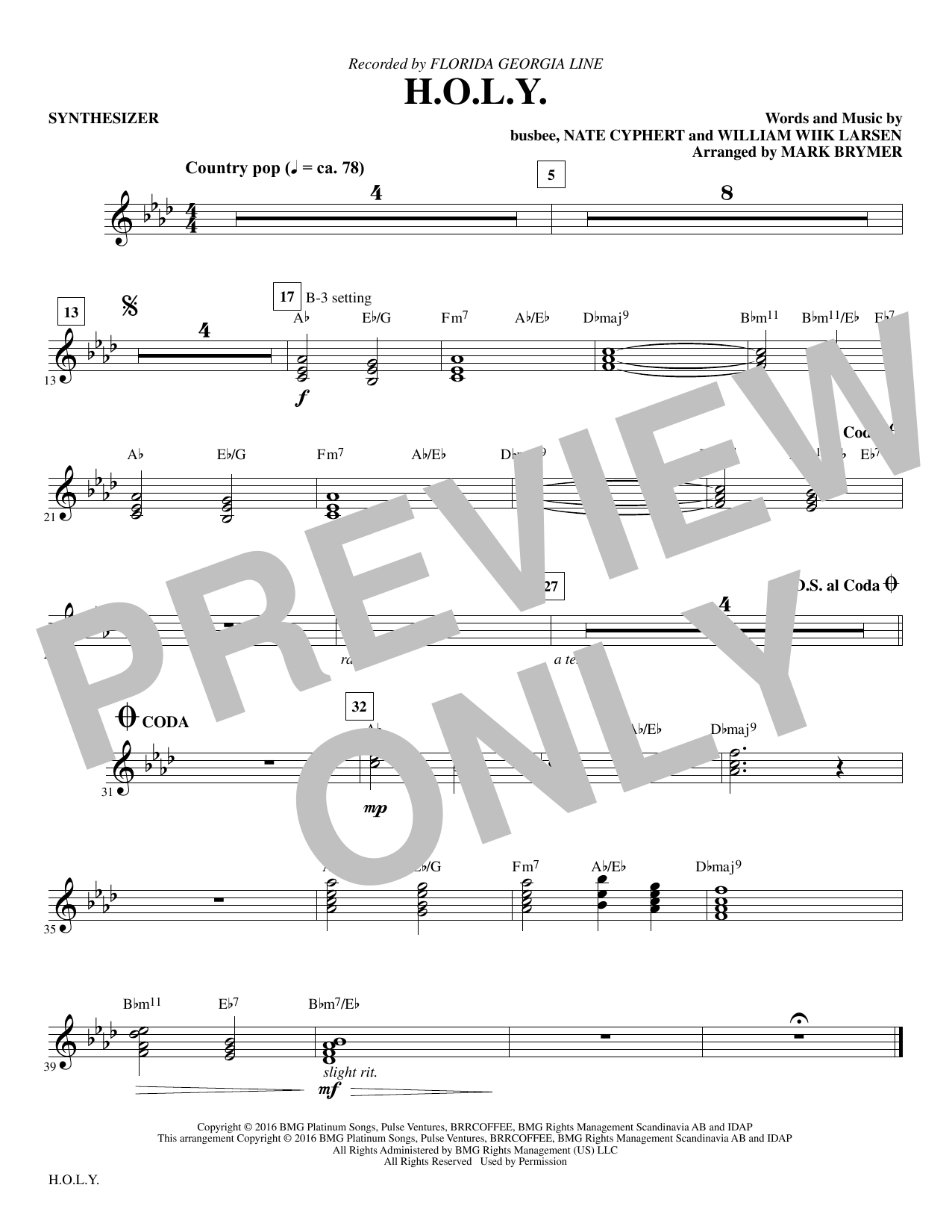 H.O.L.Y. (complete set of parts) sheet music for orchestra/band by Mark Brymer and Florida Georgia Line. Score Image Preview.