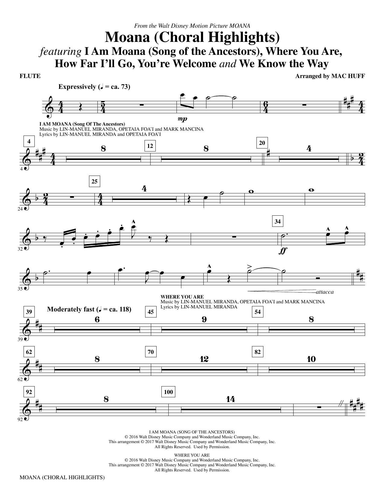 Moana (complete set of parts) sheet music for orchestra/band by Mac Huff, Lin-Manuel Miranda and Mark Mancina. Score Image Preview.