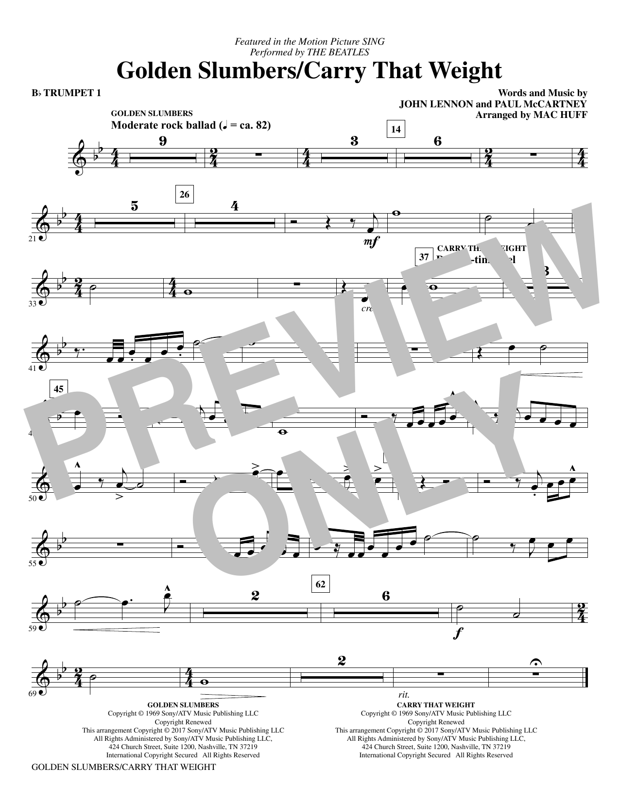 Golden Slumbers/Carry That Weight (complete set of parts) sheet music for orchestra/band by The Beatles, John Lennon, Mac Huff and Paul McCartney. Score Image Preview.