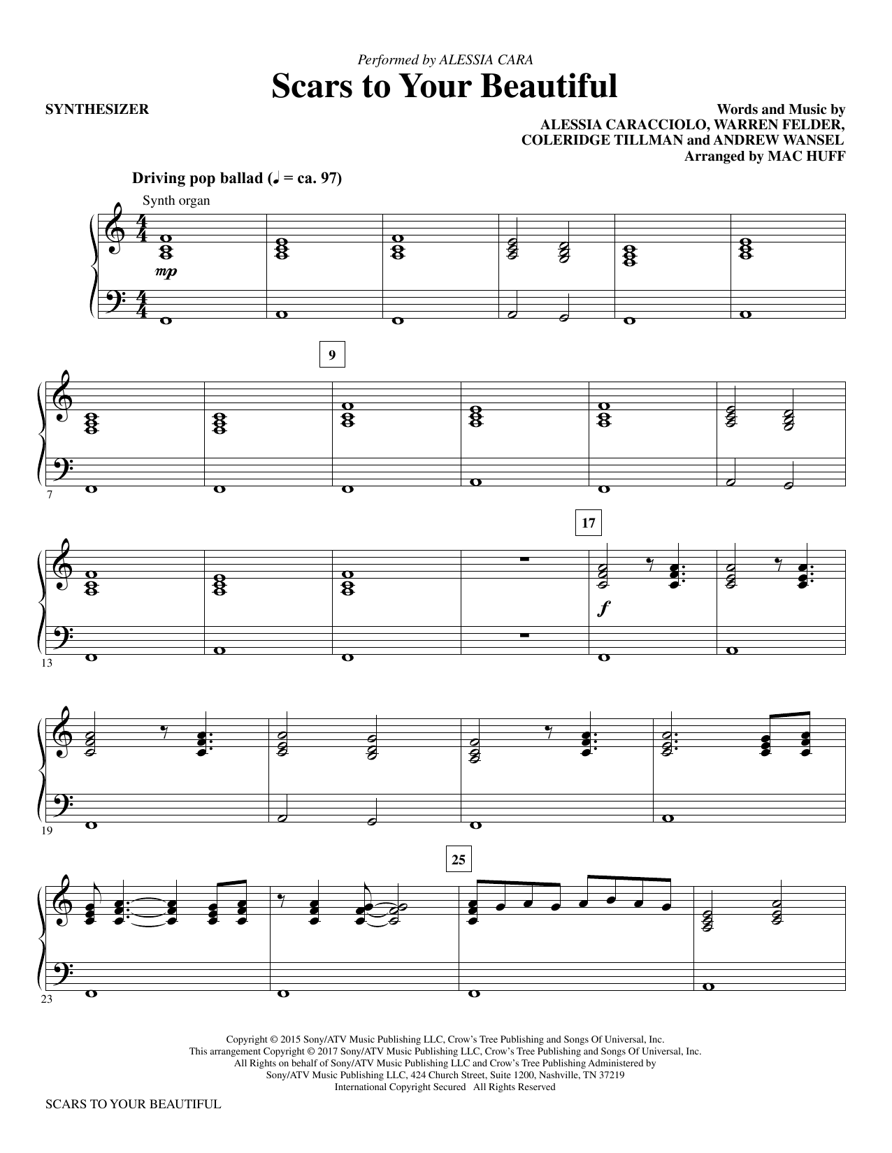 Scars to Your Beautiful - Synthesizer Sheet Music