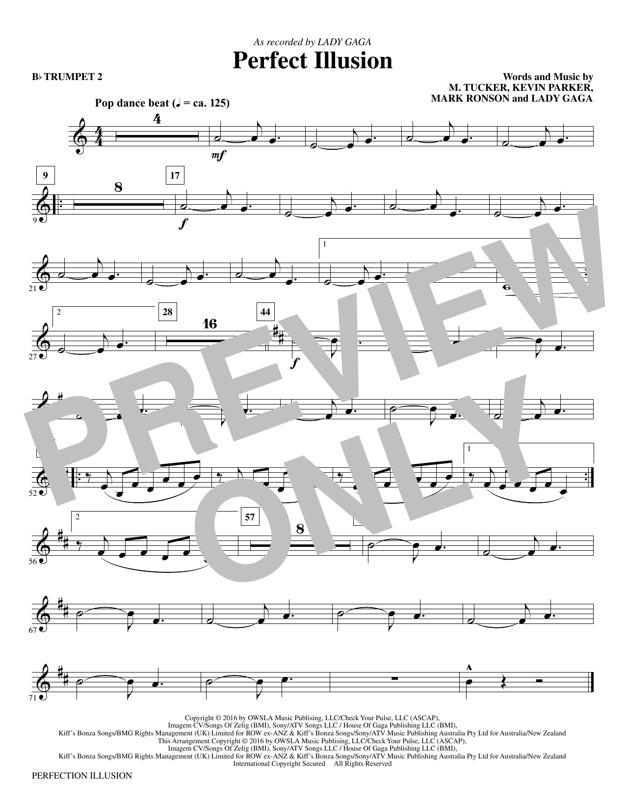 Perfect Illusion - Bb Trumpet 2 (Choir Instrumental Pak)