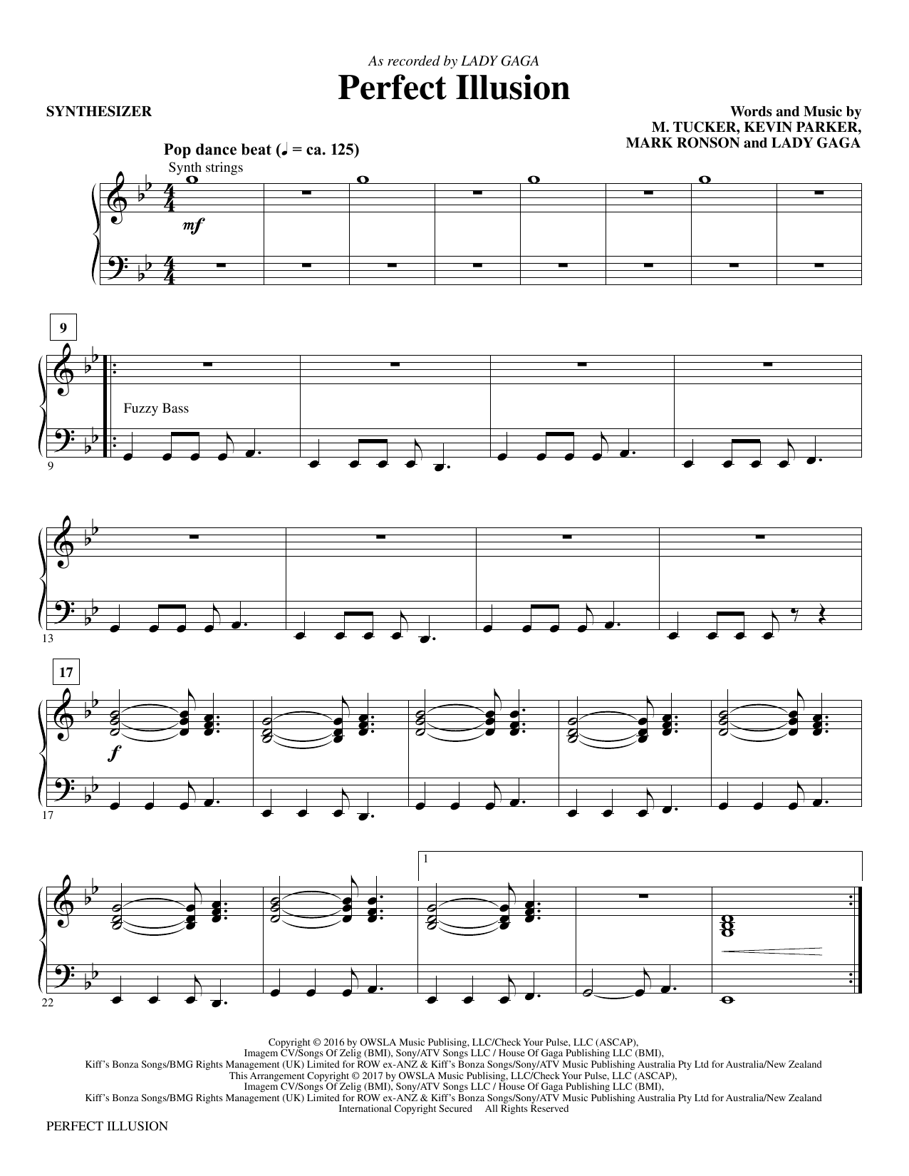 Perfect Illusion - Synthesizer Sheet Music