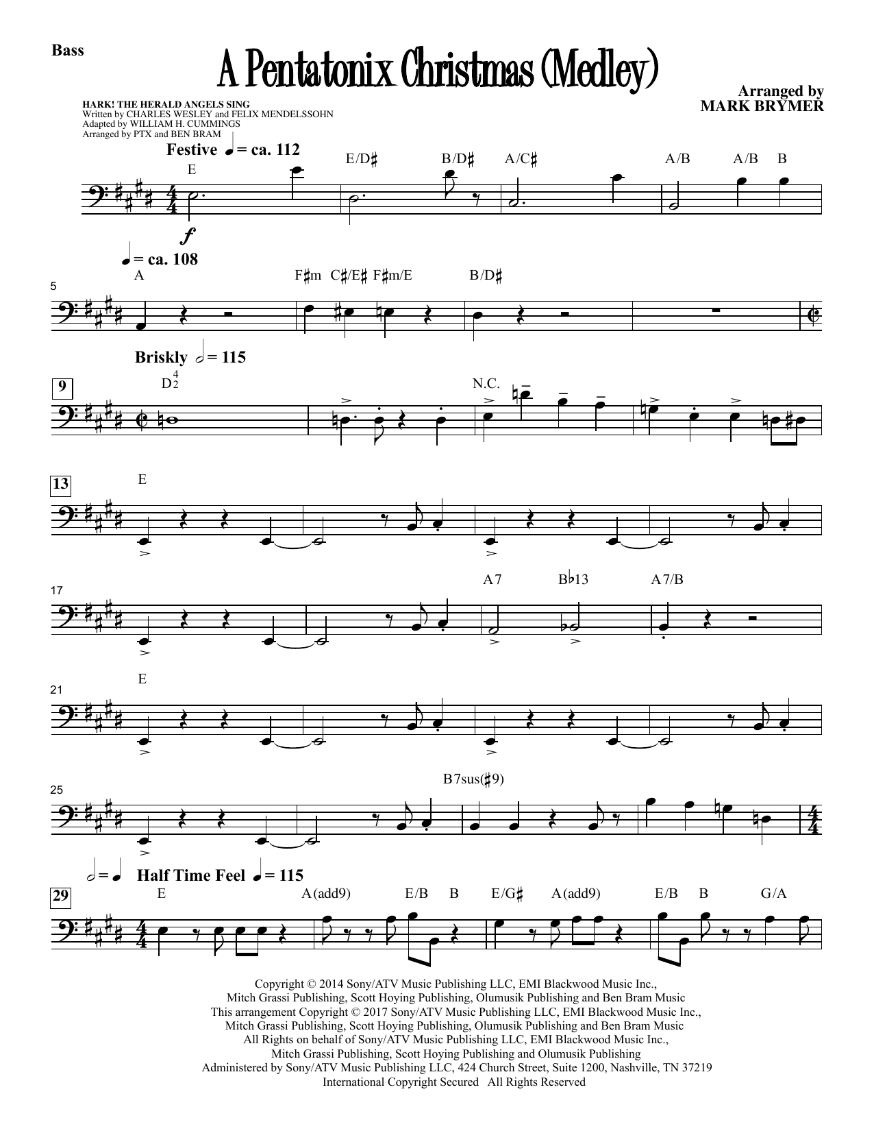 A Pentatonix Christmas (Medley) (arr. Mark Brymer) - Bass Sheet Music