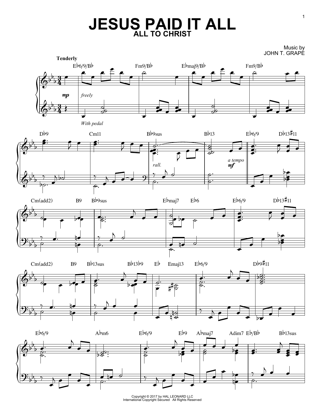 Jesus Paid It All (Piano Solo)