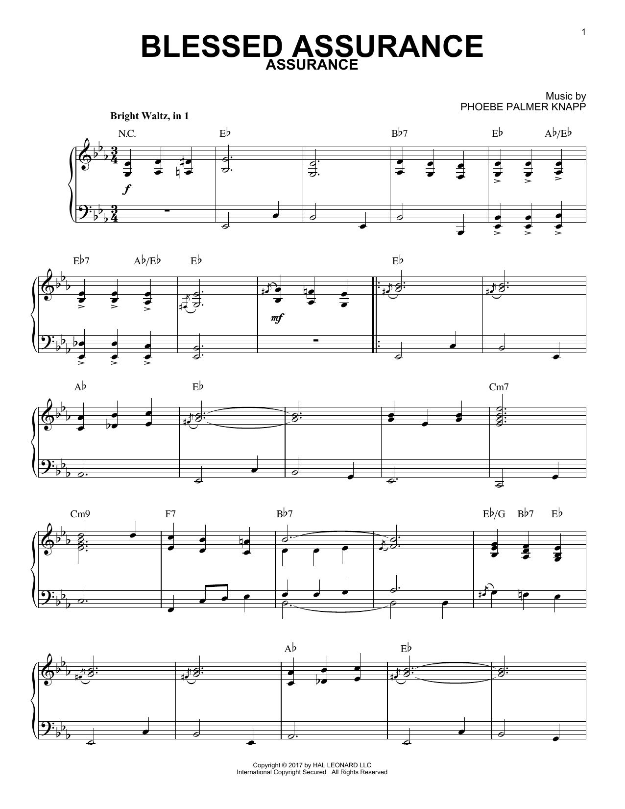 Blessed Assurance [Jazz version] (Piano Solo)