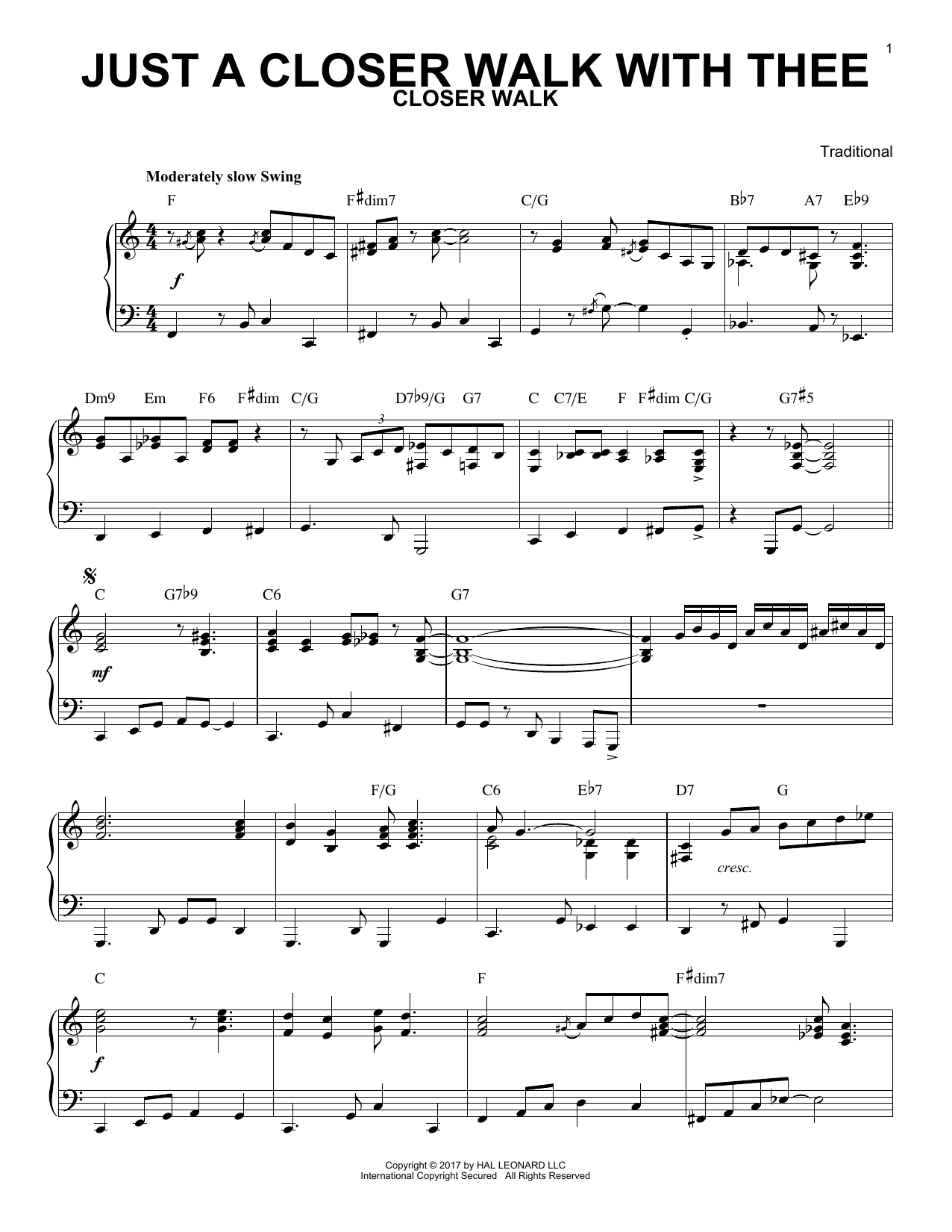 Just A Closer Walk With Thee [Jazz version] (Piano Solo)