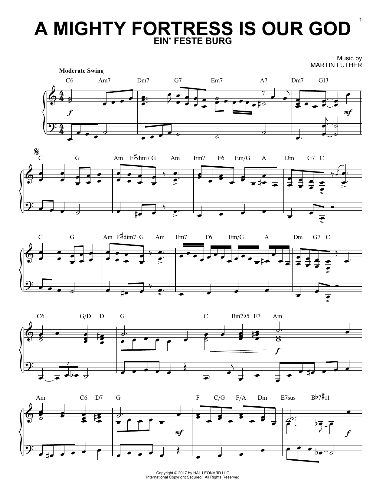 A Mighty Fortress Is Our God [Jazz version] (Piano Solo)