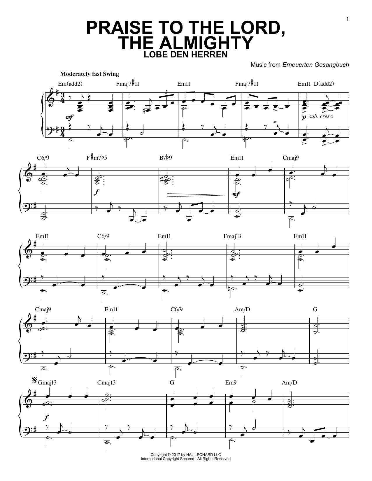 Praise To The Lord, The Almighty [Jazz version] (Piano Solo)
