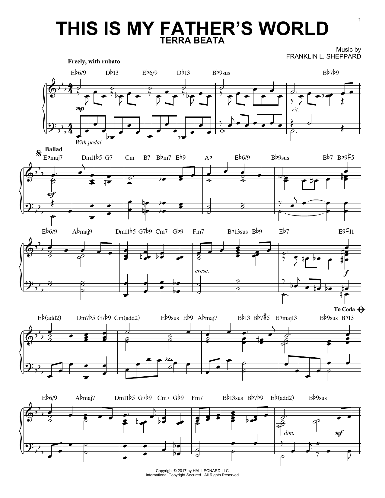 This Is My Father's World [Jazz version] (Piano Solo)