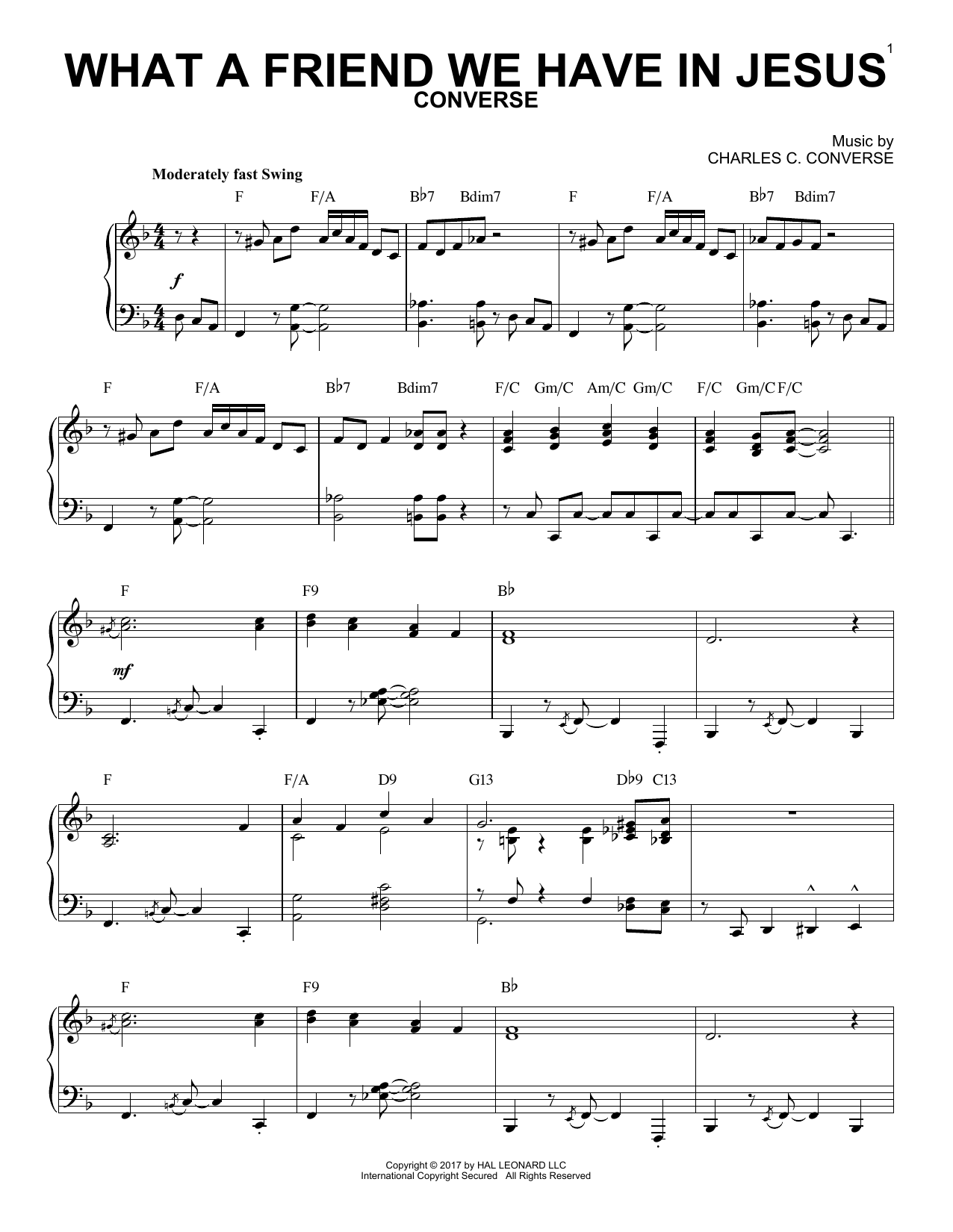What A Friend We Have In Jesus [Jazz version] (arr. Brent Edstrom) (Piano Solo)