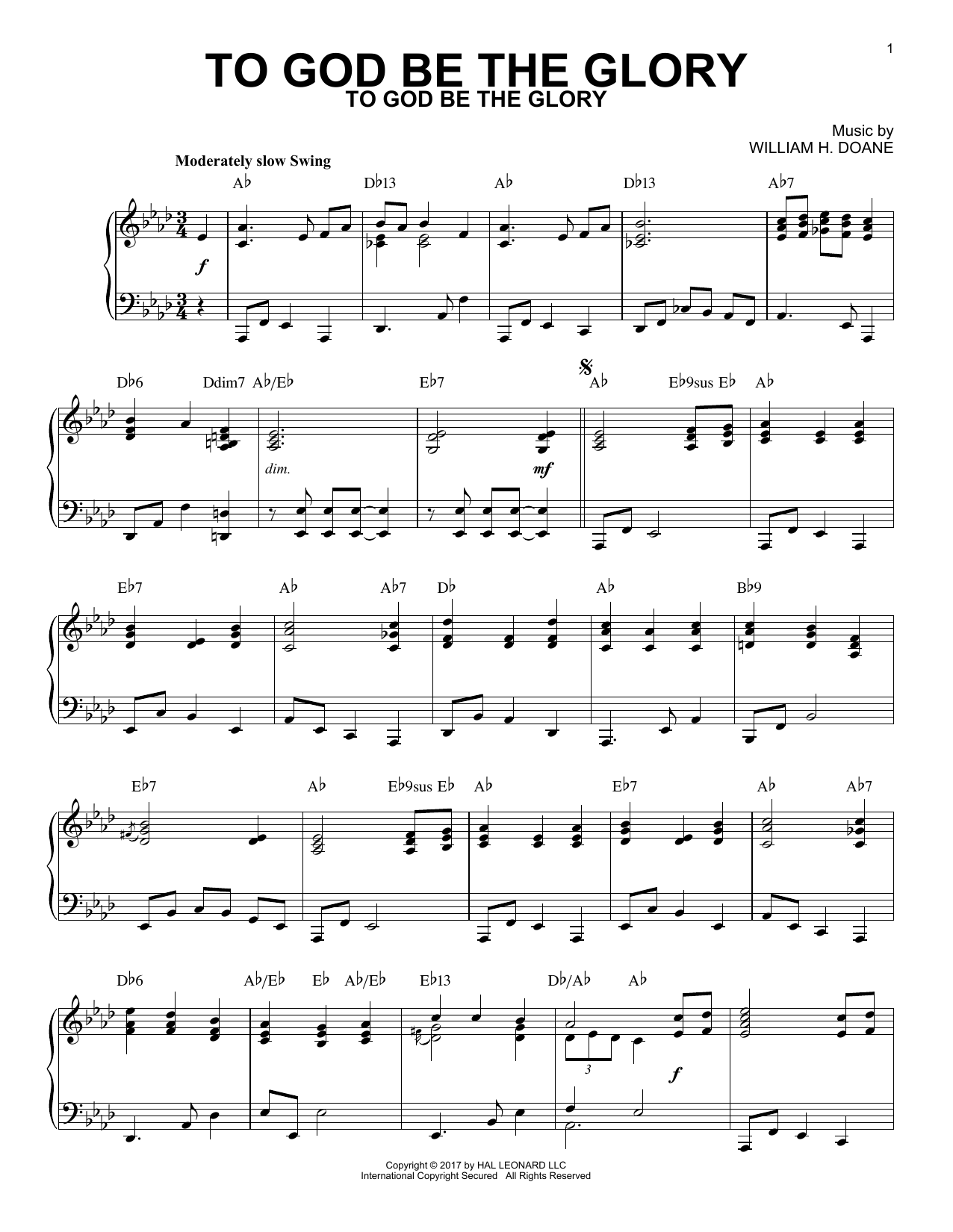 To God Be The Glory Piano Sheet Music By Fanny J Crosby Solo Piano