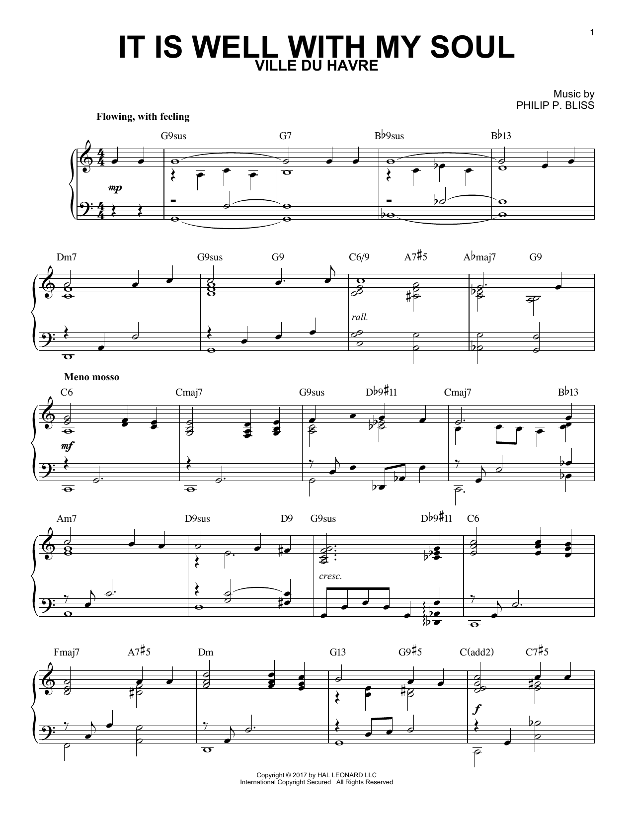 It Is Well With My Soul [Jazz version] (arr. Brent Edstrom) (Piano Solo)