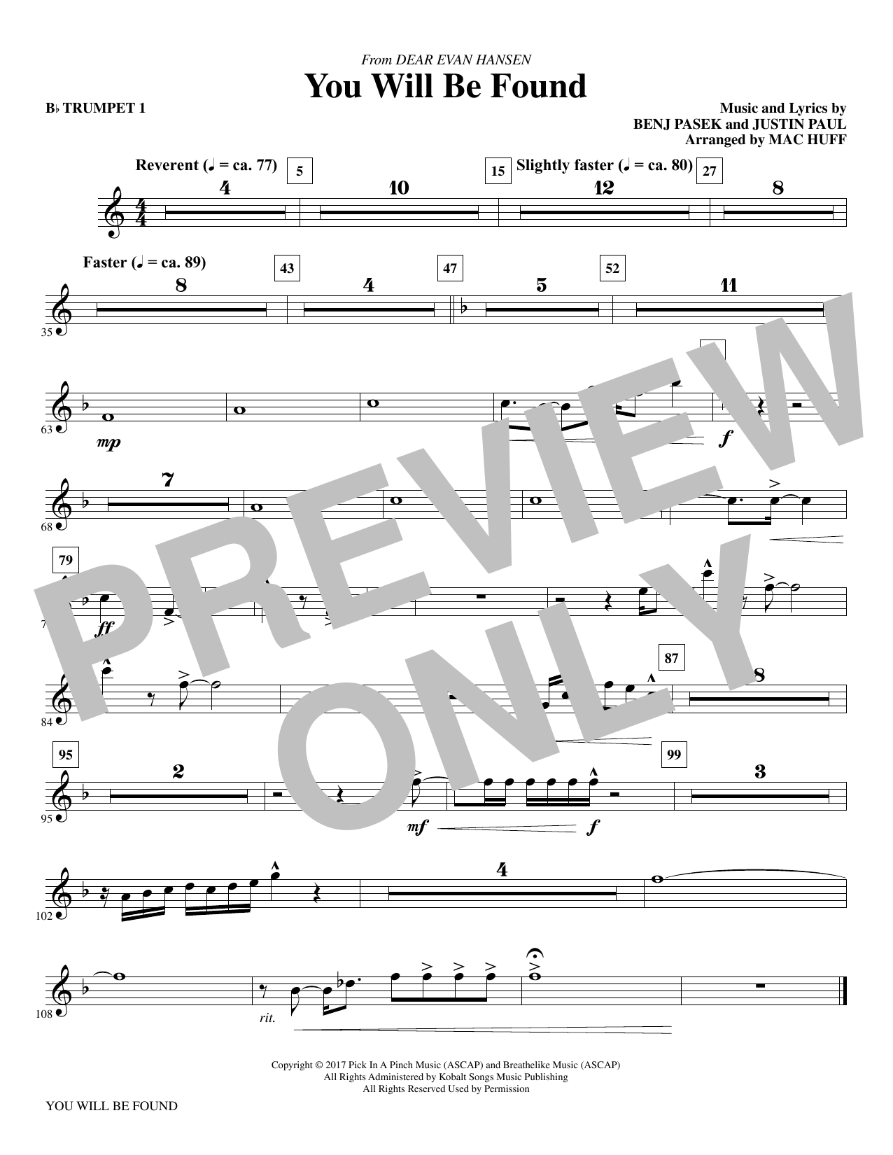 You Will Be Found (from Dear Evan Hansen) (arr. Mac Huff) - Bb Trumpet 1 (Choir Instrumental Pak)
