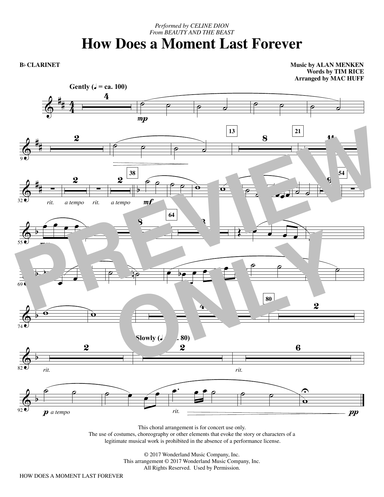 How Does a Moment Last Forever - Clarinet Sheet Music