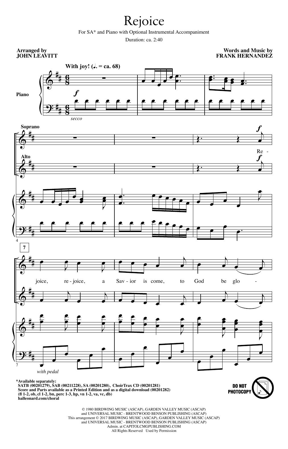 Rejoice (2-Part Choir)