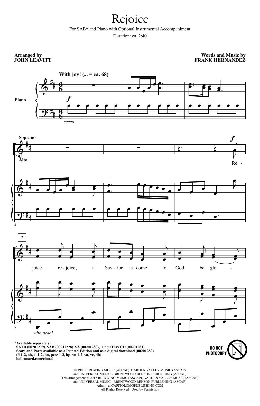 Rejoice (SAB Choir)