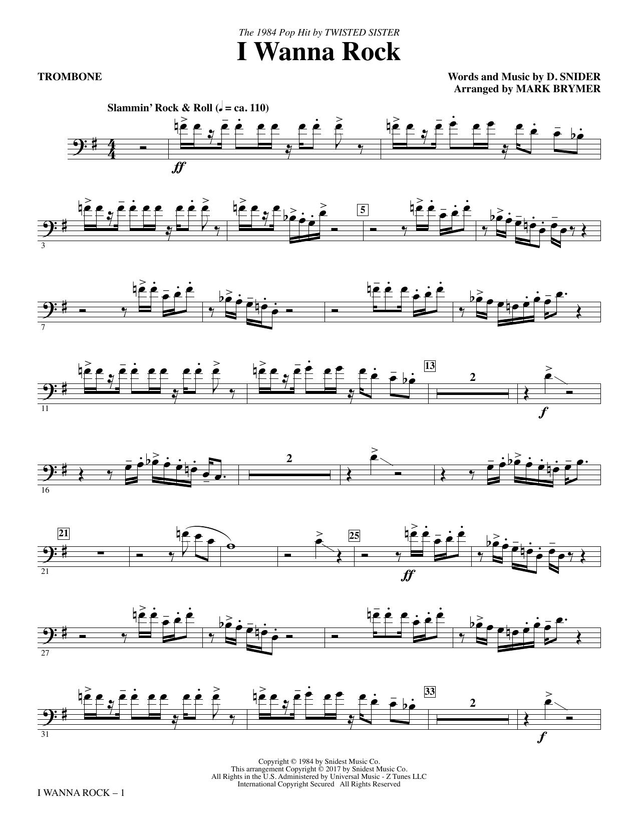 I Wanna Rock - Trombone Sheet Music