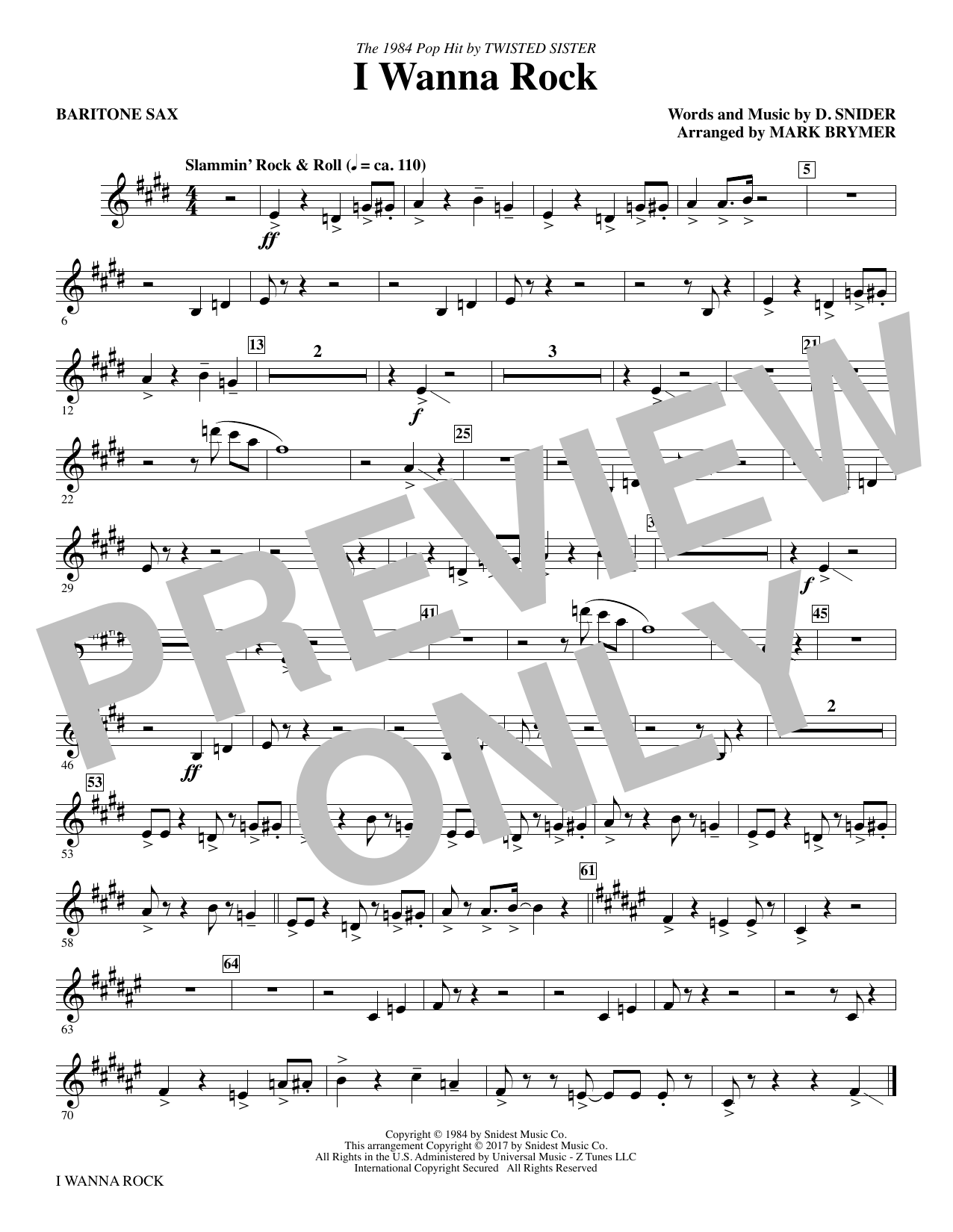 I Wanna Rock - Baritone Sax Sheet Music