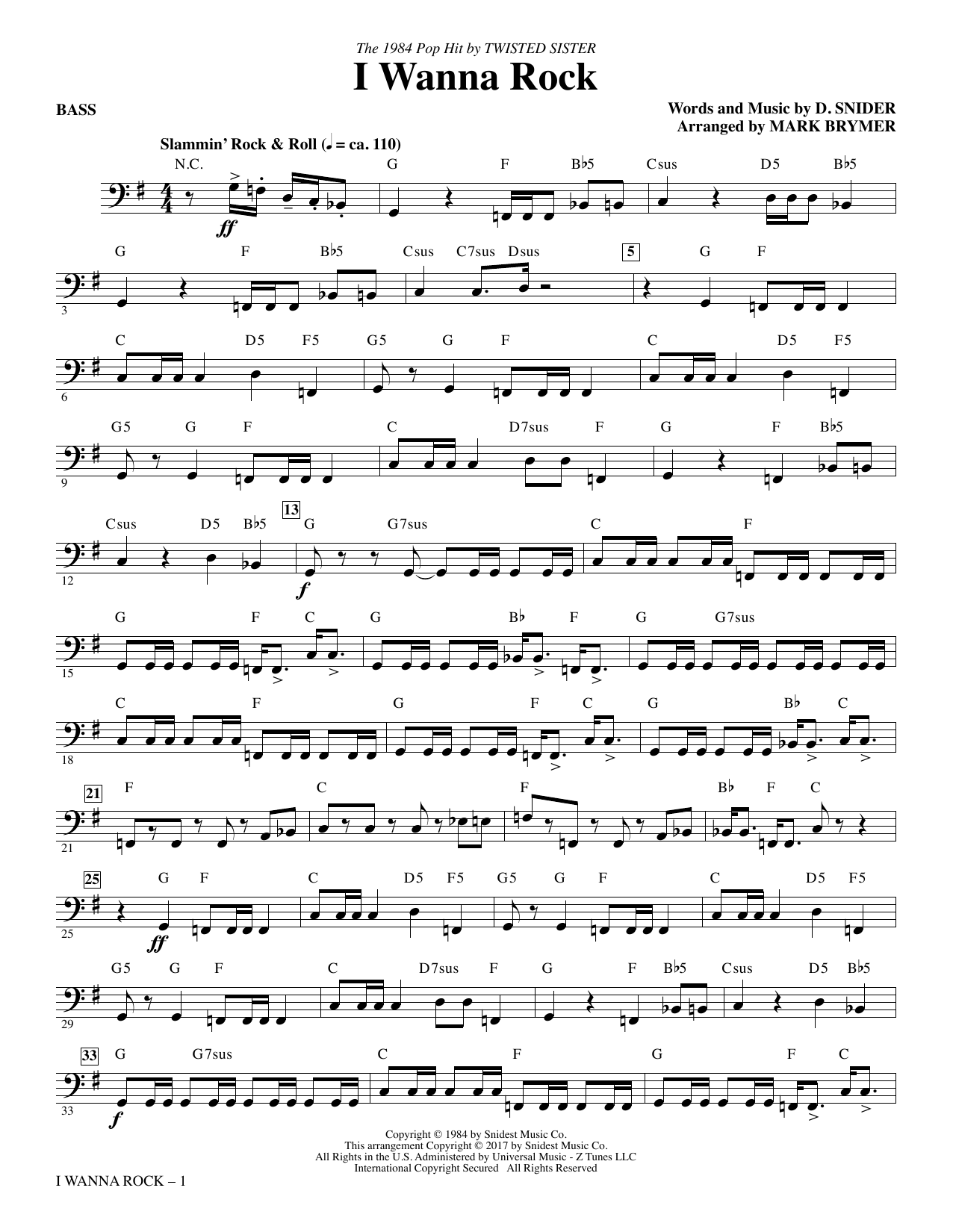 I Wanna Rock - Bass Sheet Music