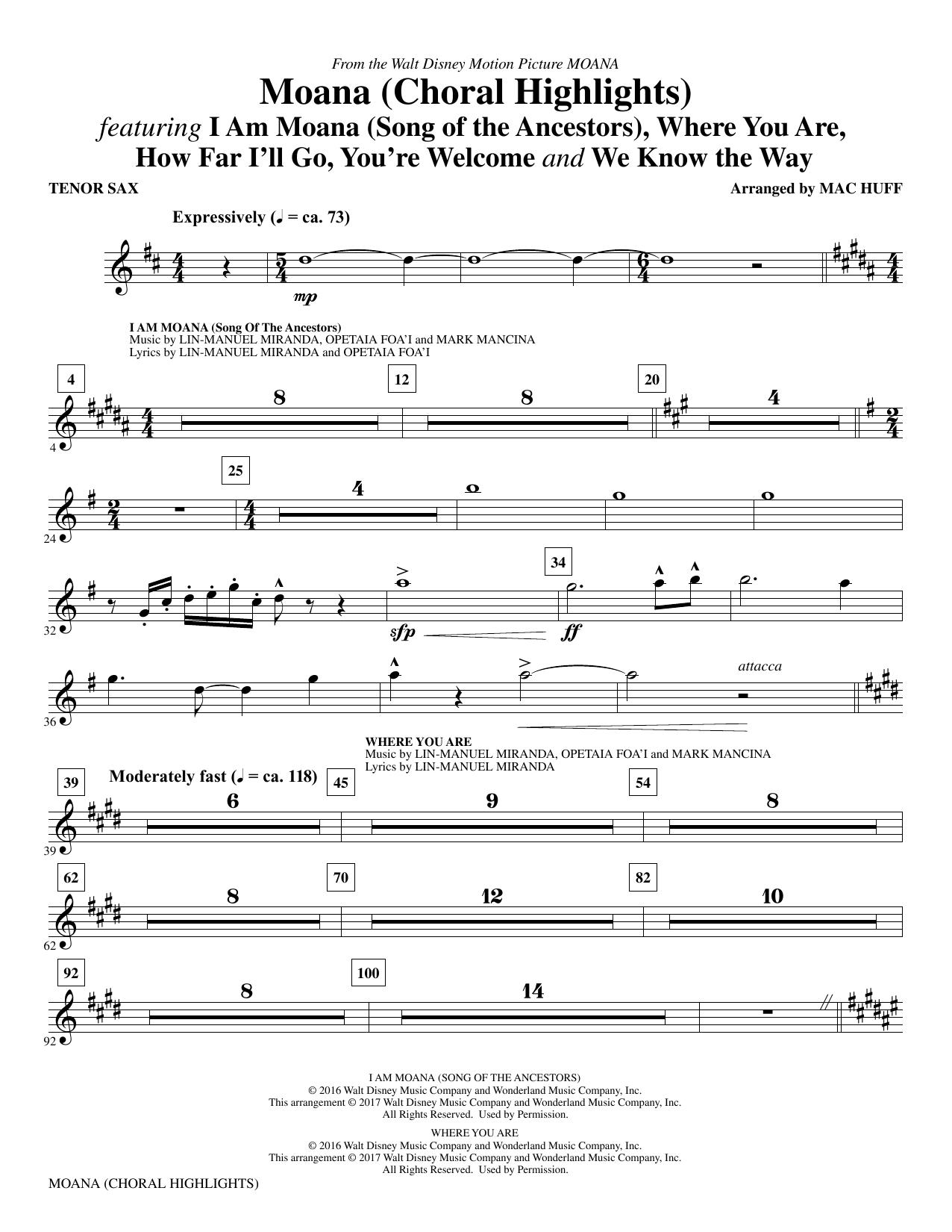 Moana - Tenor Saxophone Sheet Music