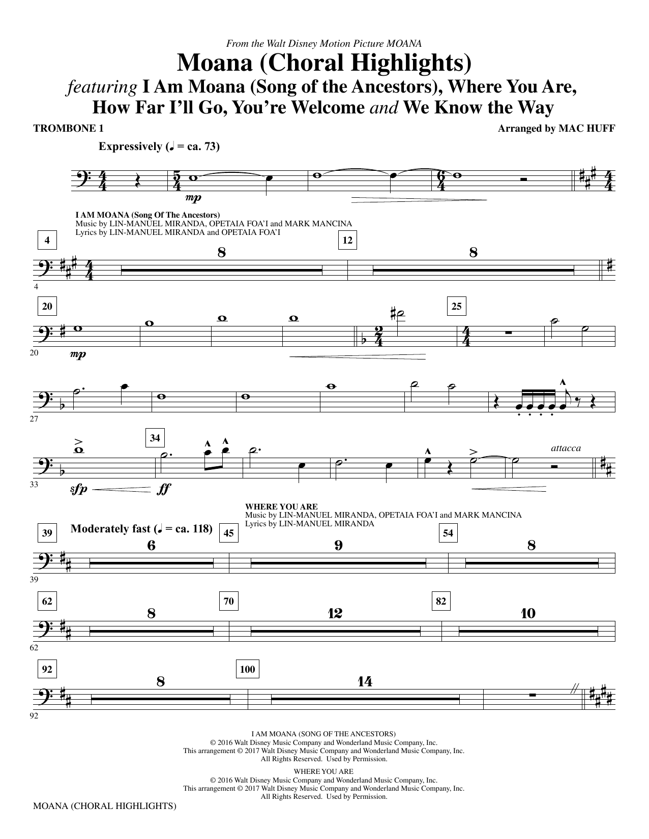 Moana - Trombone 1 Sheet Music