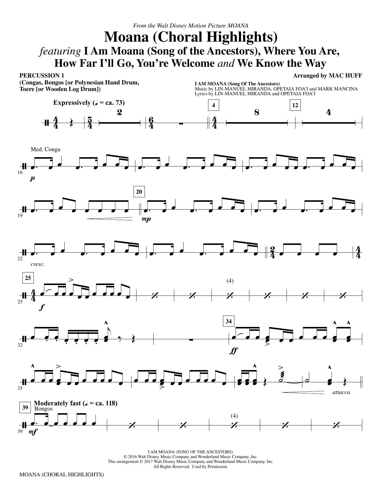 Moana - Percussion 1 Sheet Music