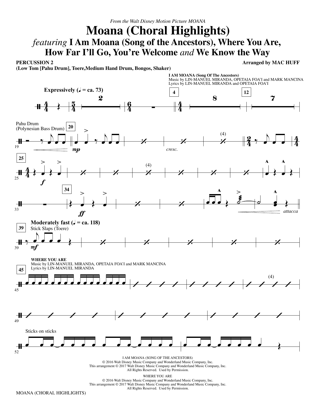 Moana - Percussion 2 Sheet Music