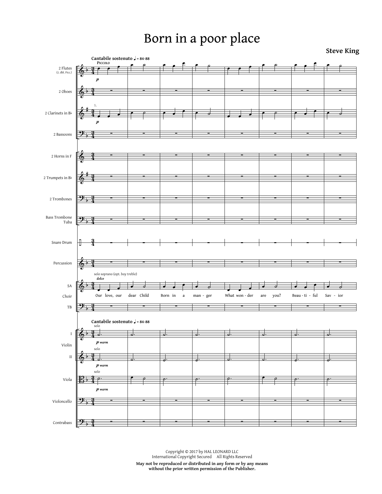 Born in a Poor Place (COMPLETE) sheet music for orchestra/band by Steve King. Score Image Preview.