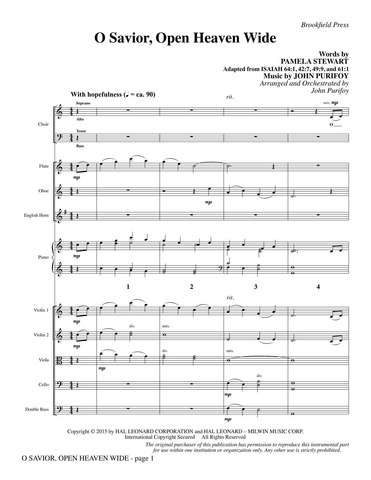 O Savior, Open Heaven Wide (COMPLETE) sheet music for orchestra/band by John Purifoy and Pamela Stewart. Score Image Preview.