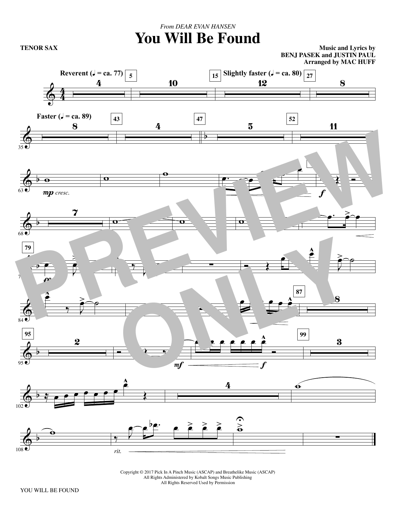 You Will Be Found (from Dear Evan Hansen) (arr. Mac Huff) - Tenor Saxophone Sheet Music