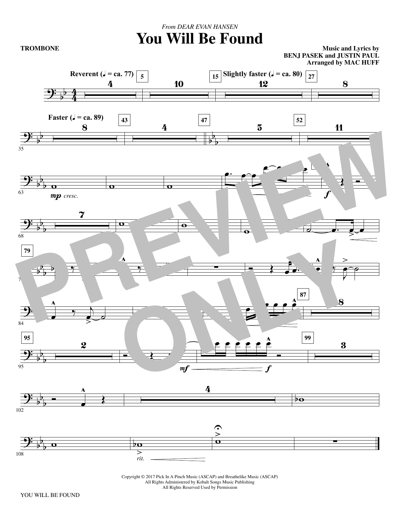 You Will Be Found (from Dear Evan Hansen) (arr. Mac Huff) - Trombone Sheet Music