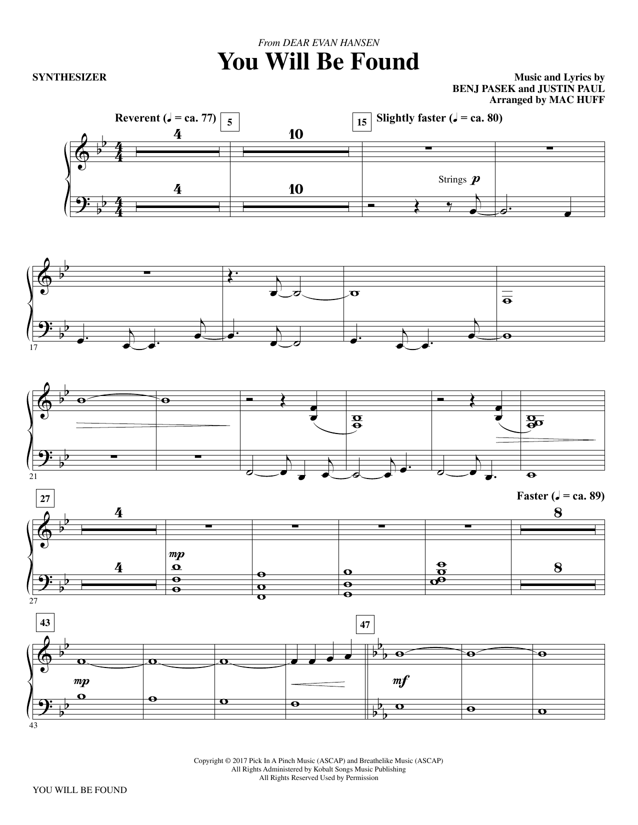 You Will Be Found (from Dear Evan Hansen) (arr. Mac Huff) - Synthesizer Sheet Music