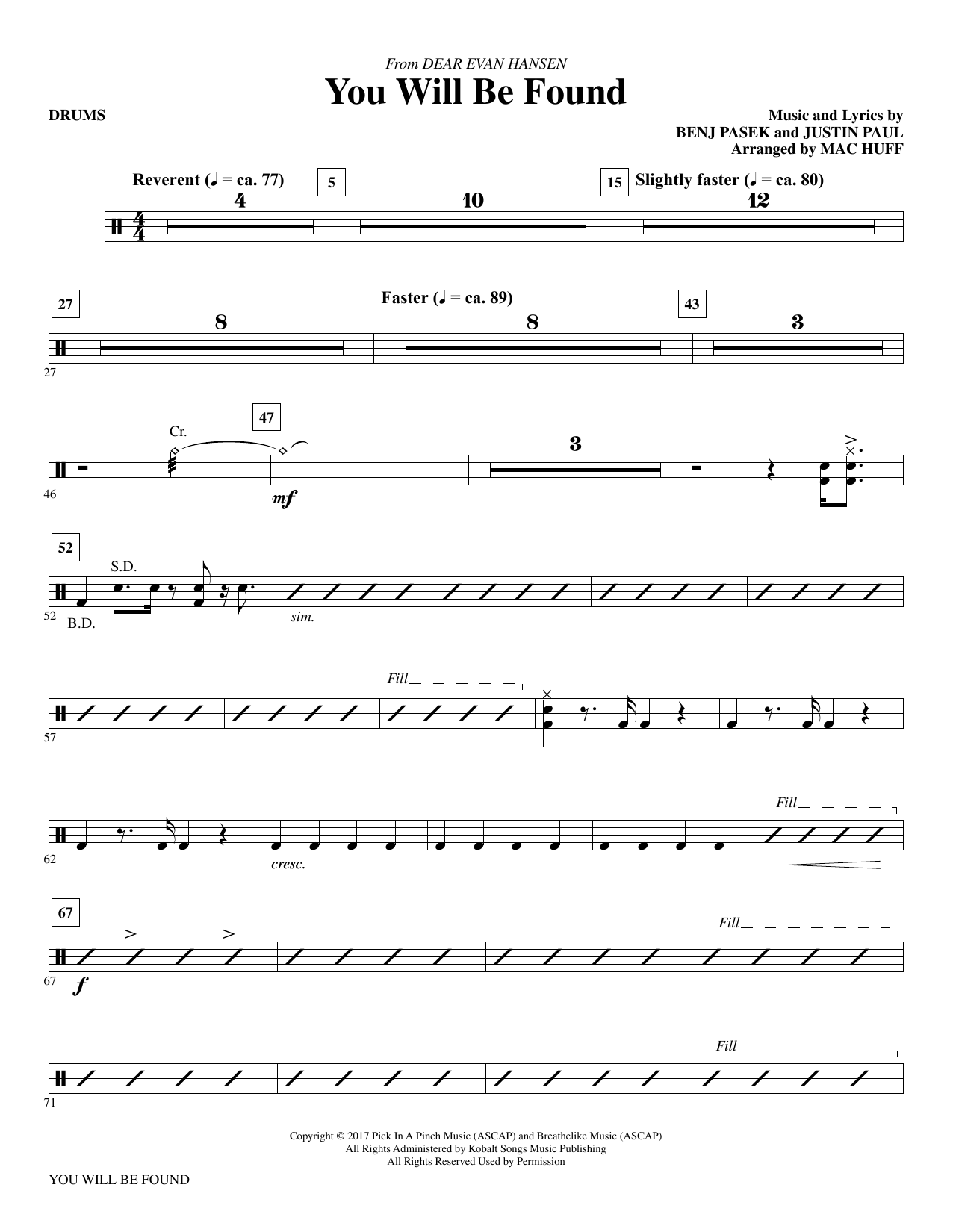 You Will Be Found (from Dear Evan Hansen) (arr. Mac Huff) - Drums Sheet Music
