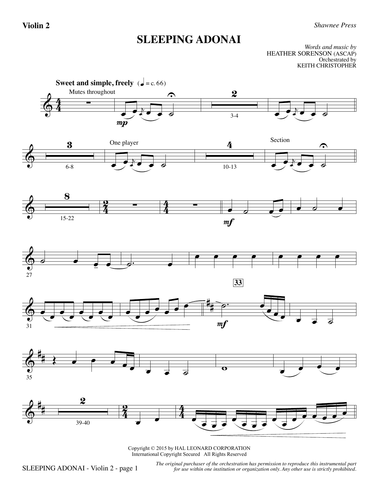 Sleeping Adonai - Violin 2 Partition Digitale