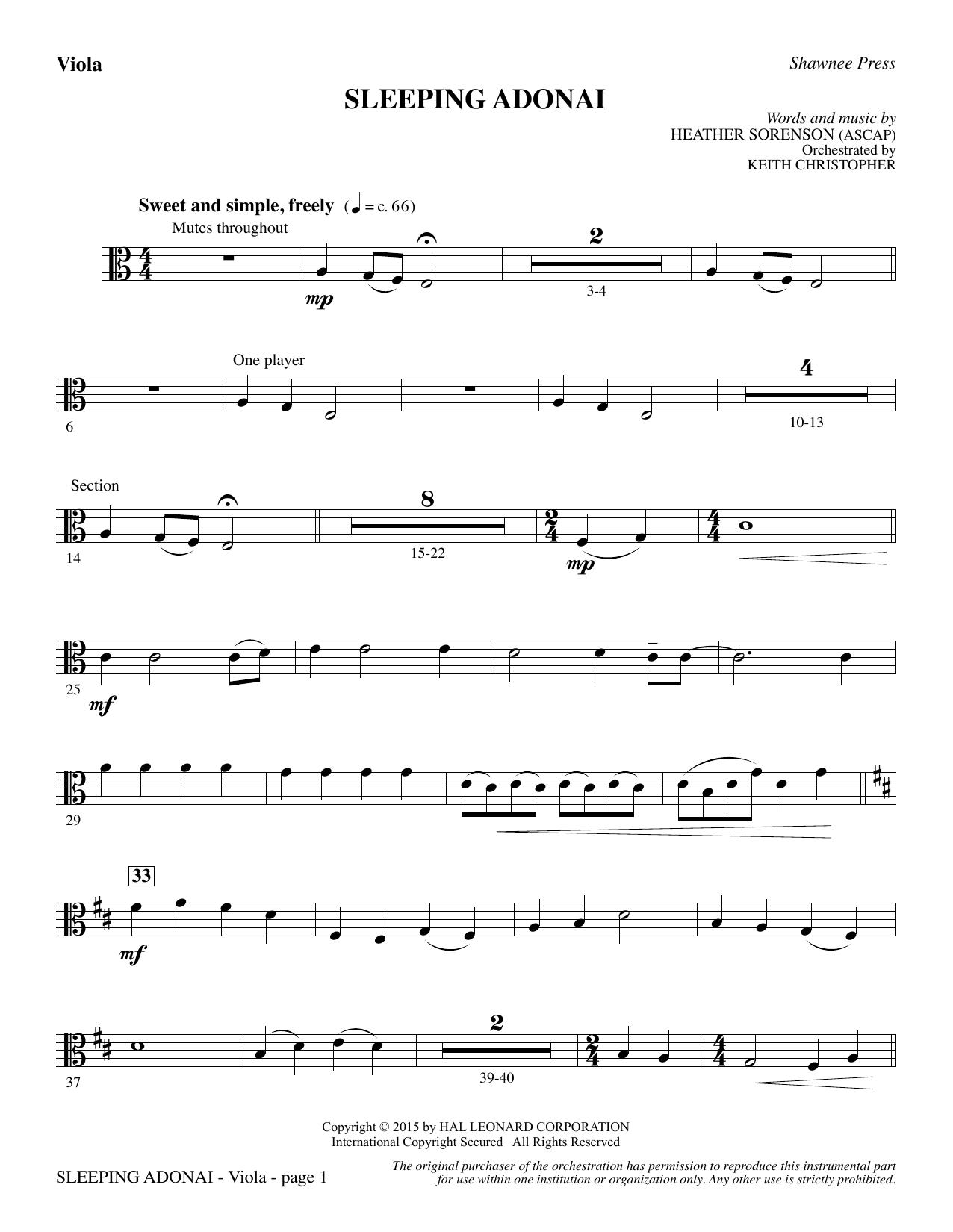 Sleeping Adonai - Viola Partition Digitale