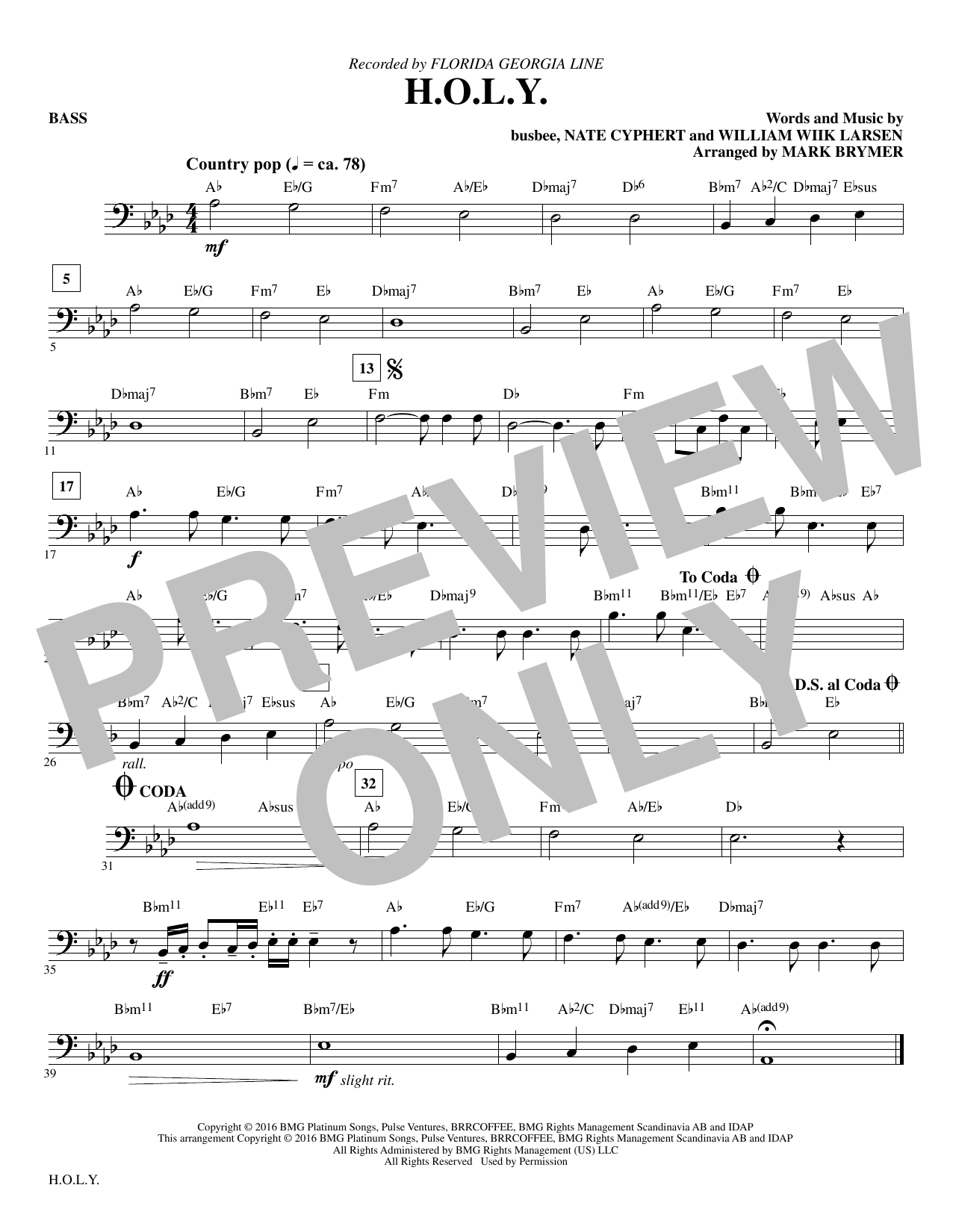 H.O.L.Y. - Bass Sheet Music