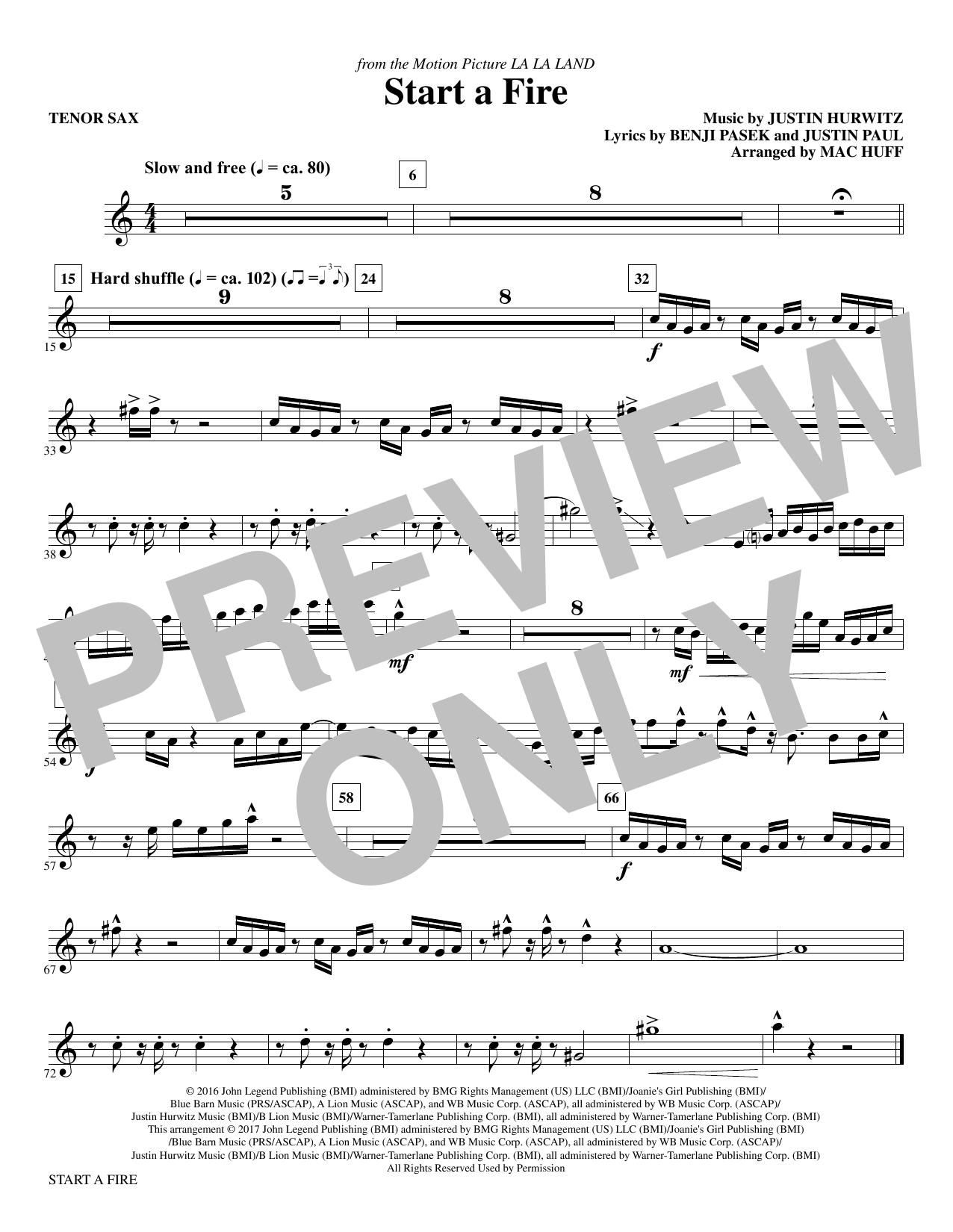 Start a Fire - Tenor Saxophone Sheet Music