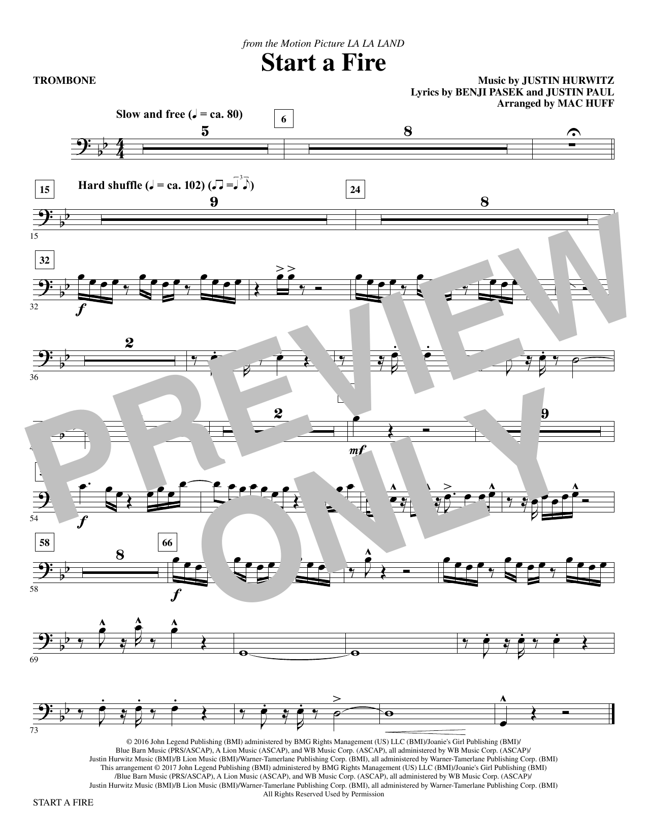 Start a Fire - Trombone Sheet Music