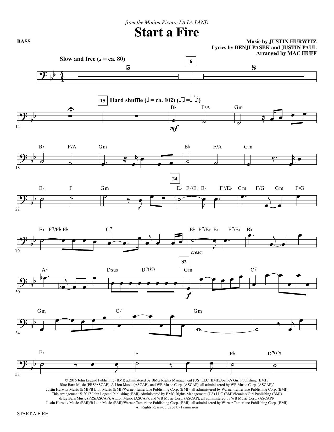 Start a Fire - Bass Sheet Music