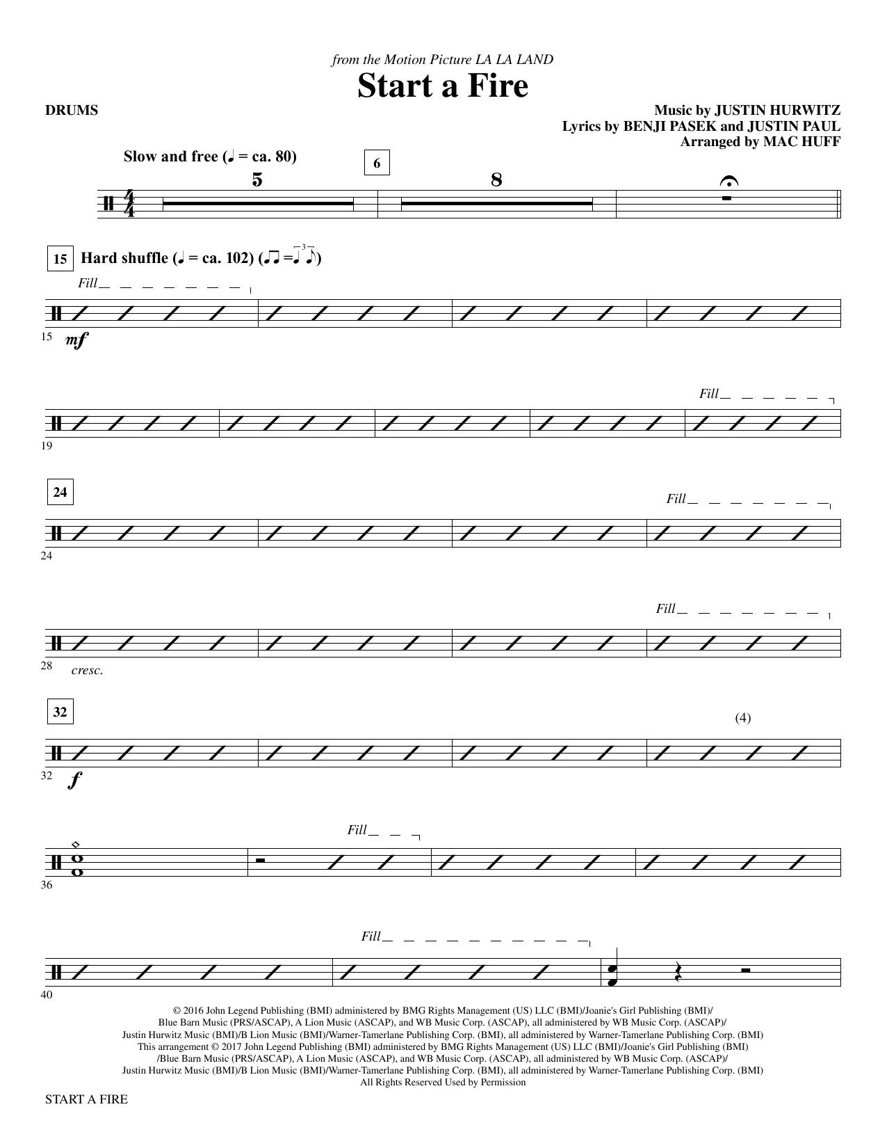 Start a Fire - Drums Sheet Music