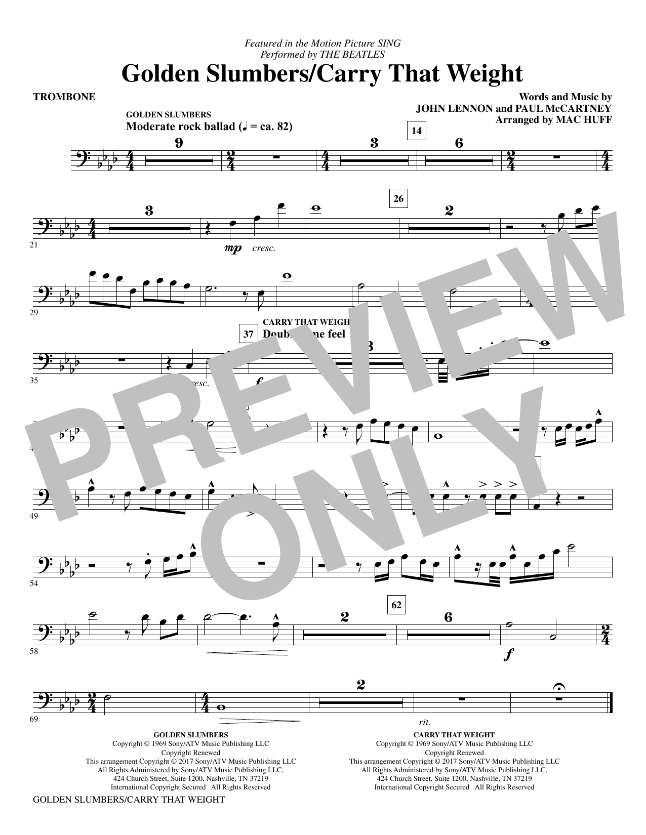 Golden Slumbers/Carry That Weight (from Sing) (arr. Mac Huff) - Trombone Sheet Music