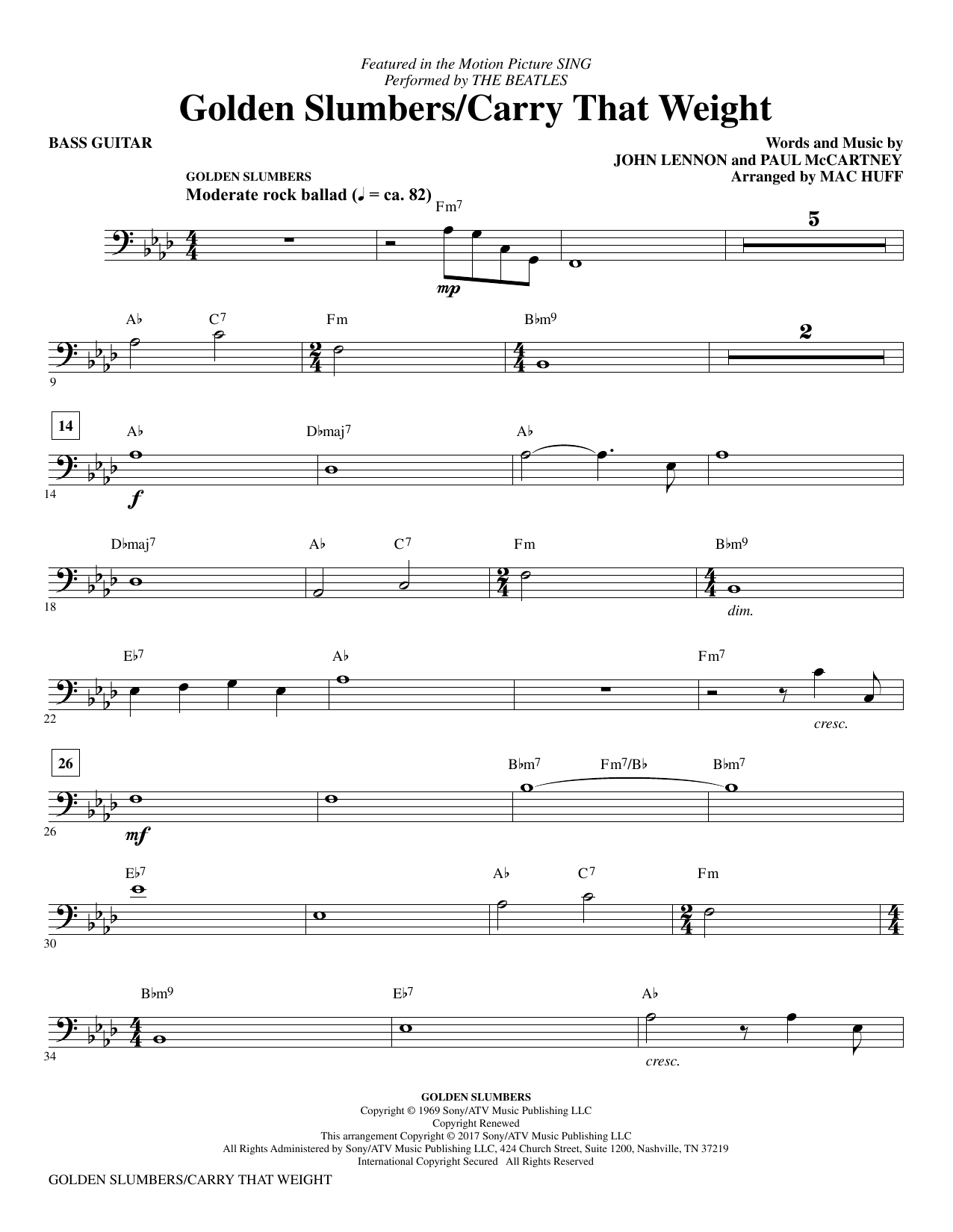 Golden Slumbers/Carry That Weight (from Sing) (arr. Mac Huff) - Bass Sheet Music